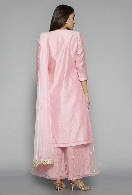 Vark by Westside Pink Embroidered Suit Set