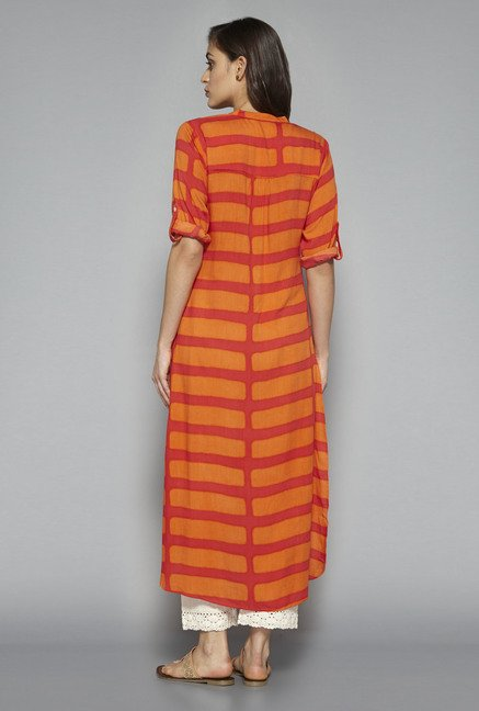 Utsa by Westside Coral & Orange Striped Kurta