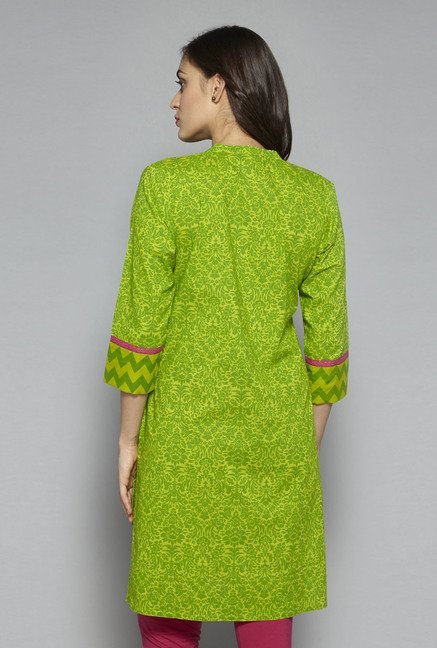 Utsa by Westside Lime Green Floral Print Kurta