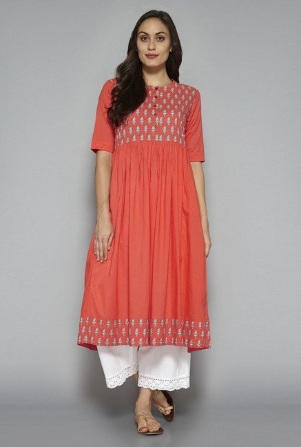 Utsa by Westside Peach Pure Cotton Anarkali Kurta