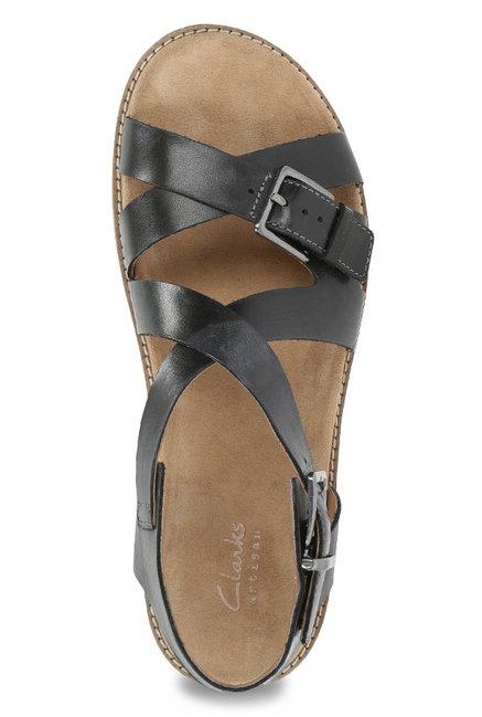 c2b98b8141e Buy Clarks Corsio Bambi Black Cross Strap Sandals for Women at Best ...