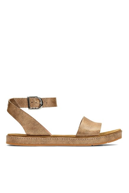 623fe57bc63 Buy Clarks Romantic Moon Golden Ankle Strap Sandals for Women at Best Price    Tata CLiQ