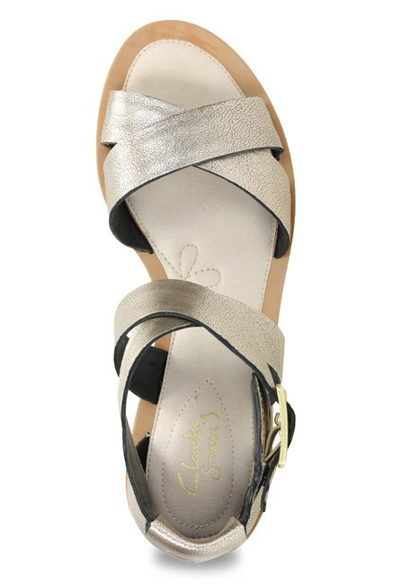 2e034bea33d12f Buy Clarks Sandcastle Ray Champagne Gold Cross Strap Sandals for ...