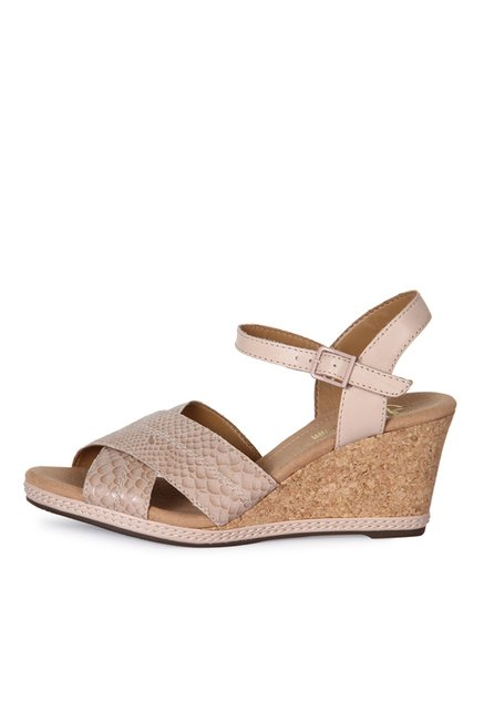 026d8a00242b Buy Clarks Helio Latitude Nude Ankle Strap Wedges for Women at ...