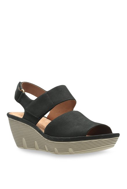 323d8ad3e77 Buy Clarks Clarene Allure Black Ankle Strap Wedges for Women at Best Price    Tata CLiQ