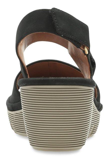 f5d8e99598d Buy Clarks Clarene Allure Black Ankle Strap Wedges for Women at Best ...