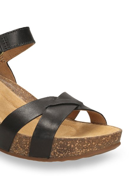 12981cbe8cf9 Buy Clarks Temira Compass Black Ankle Strap Wedges for Women at Best ...