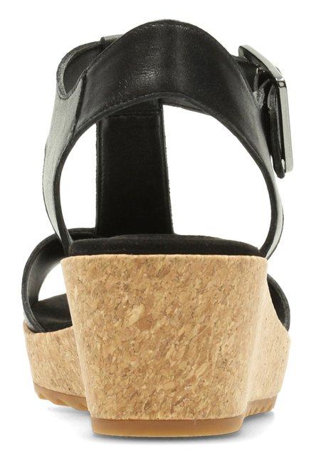 3cadb8c5e223 Buy Clarks Kamara Kiki Black T-Strap Wedges for Women at Best Price ...