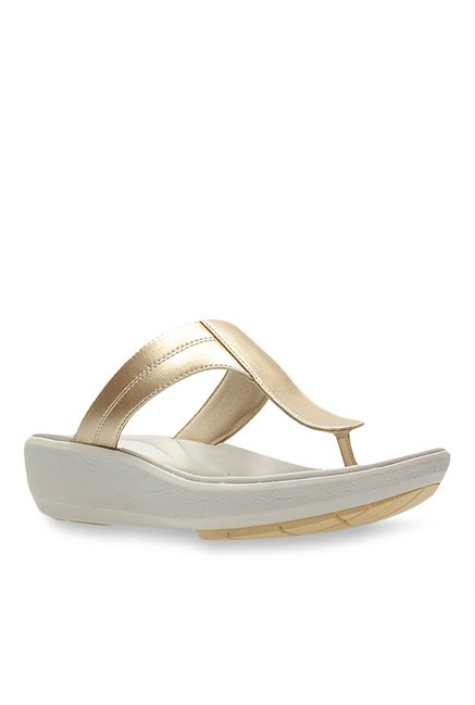 57fc94a9a4fe Buy Clarks Wave Pop Champagne Gold T-Strap Wedges for Women ...