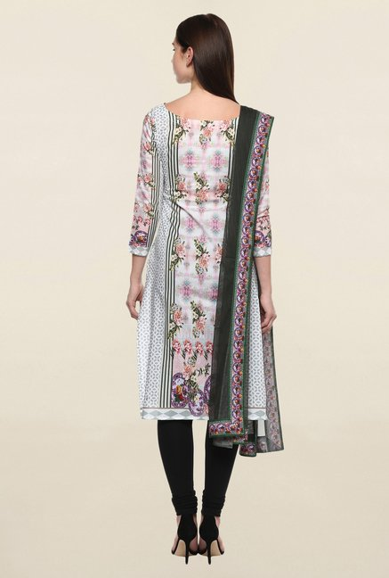 Ahalyaa White & Grey Printed Cotton Kurta Dupatta Combo Set