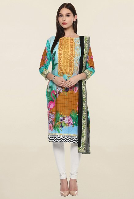 Ahalyaa Flamingo Multicolor Kurta Dupatta Combo Set