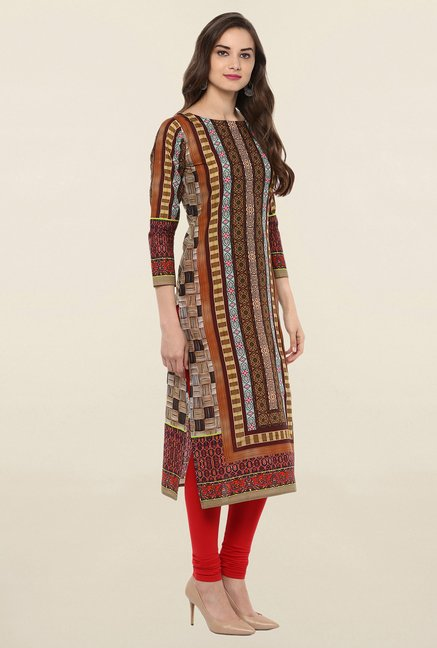 Ahalyaa Brown Printed Cotton Kurti