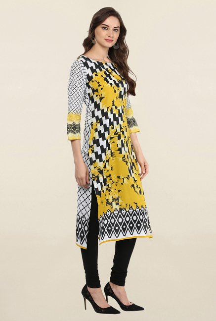 Ahalyaa Black & White Printed Cotton Kurti