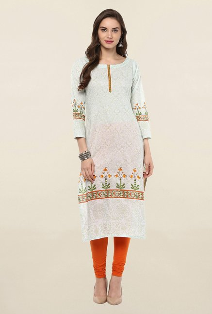 Ahalyaa White Printed Cotton Kurti