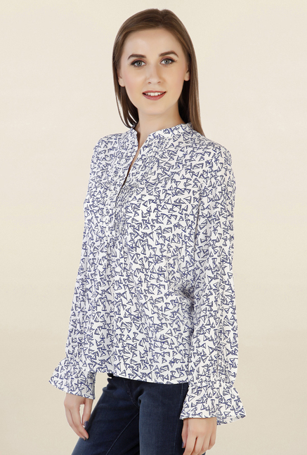 Chemistry White Printed Top