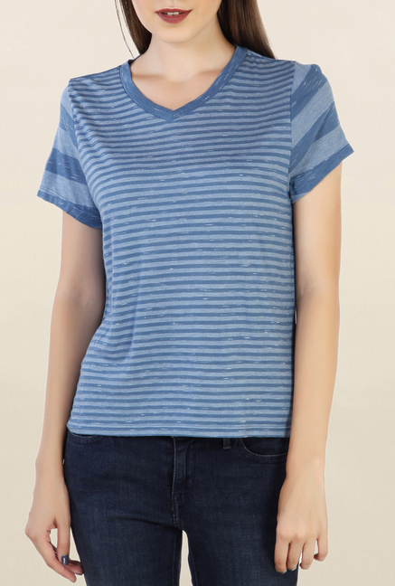 Chemistry Teal Striped Top