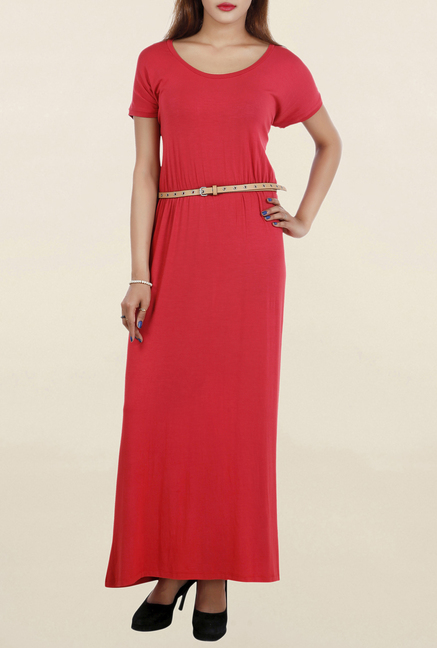 85994365f9e Buy Chemistry Red Textured Maxi Dress for Women Online   Tata CLiQ