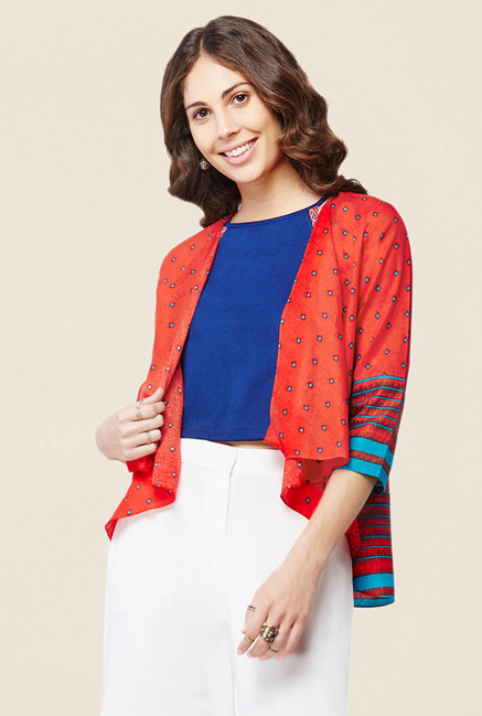 Global Desi Red Printed Shrug