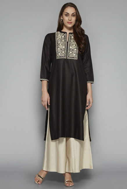Zuba by Westside Black Embroidered Kurta