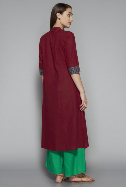 Utsa by Westside Maroon Solid Kurta