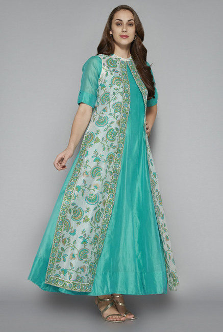 6cba8e96d Buy Vark by Westside Teal Maxi Dress With Jacket for Women Online ...