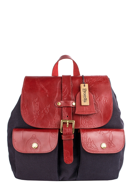 Hidesign Lumiere 02 Navy & Red Embossed Leather Backpack