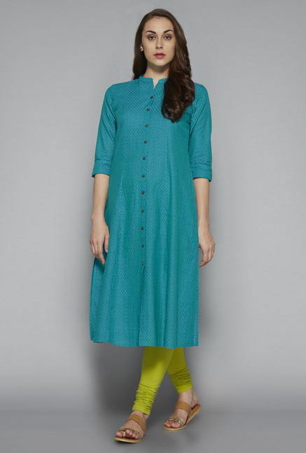 Utsa by Westside Blue Textured Kurta