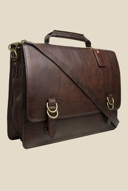 Hidesign Neil Brown Leather Messenger Bag
