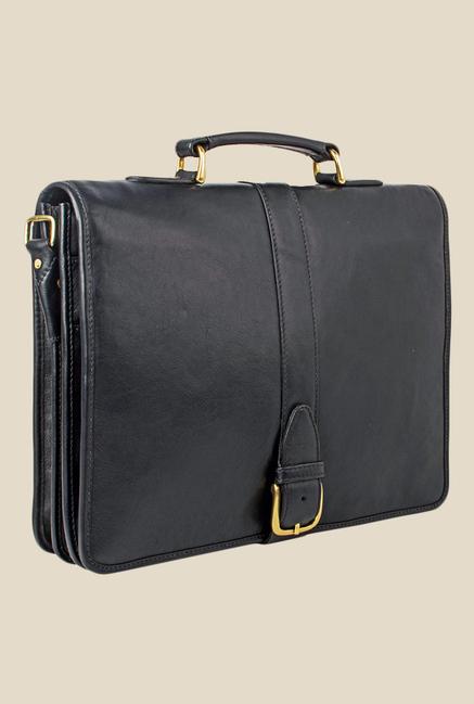 Hidesign Bolton Black Leather Messenger Bag