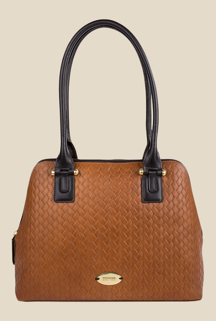 Hidesign Frankfurt 01 SB Tan Leather Plaid Shoulder Bag
