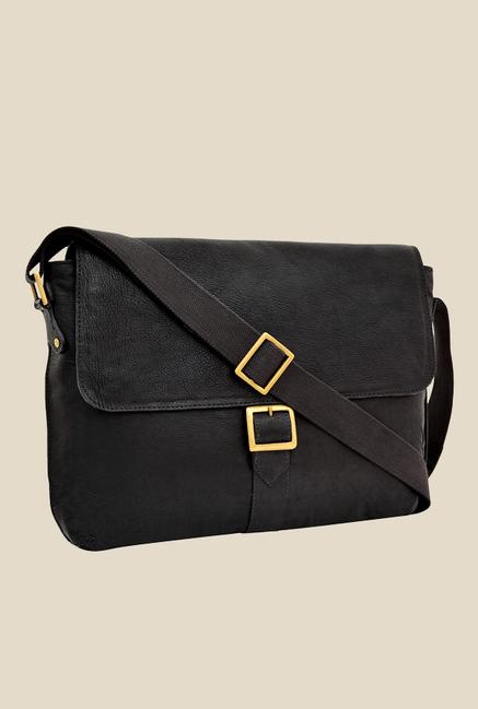 Hidesign Vespucci 03 Black Solid Leather Sling Bag