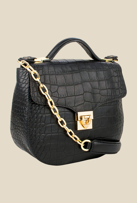 Hidesign Elsa Black Leather Satchel Bag