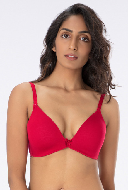 26adc041bcc00 Buy PrettySecrets Red Non Wired Padded T Shirt Bra for Women Online   Tata  CLiQ