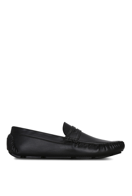 Get Glamr Driver Penny Black Loafers