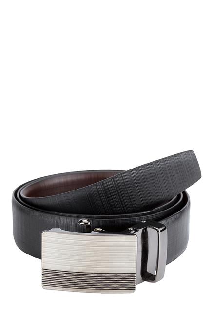 Teakwood Leathers Black Textured Narrow Belt