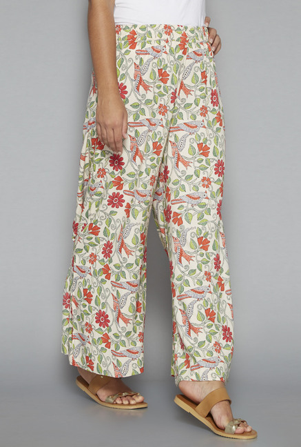 Utsa by Westside Off White Floral Print Palazzos