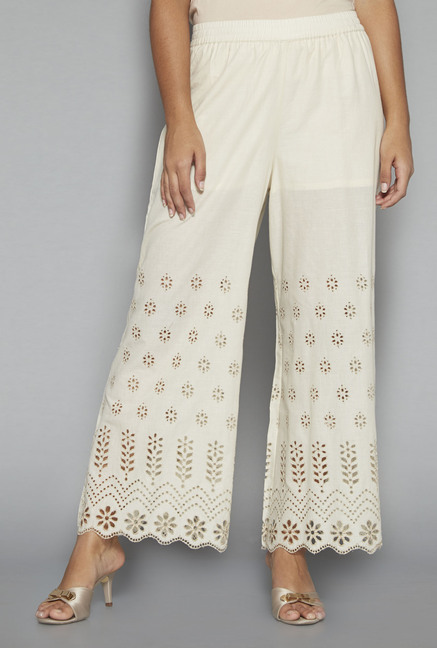 Zuba by Westside Off White Solid Palazzos