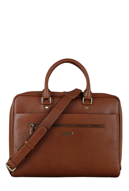 Buy Da Milano Cognac Solid Leather Laptop Messenger Bag For Men At Best  Price   Tata CLiQ d05a120f8c71f