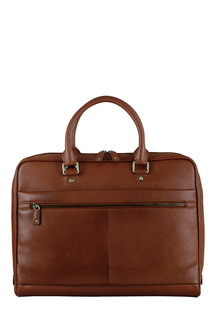 Buy Da Milano Cognac Solid Leather Laptop Messenger Bag For Men At ... 8bbe46f291c2d