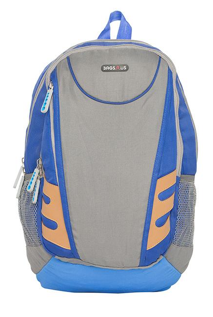 BagsRUs Fury Royal Blue & Grey Solid Laptop Backpack