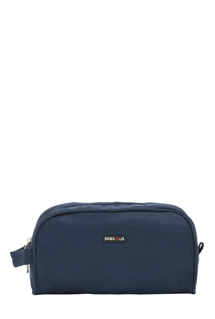 BagsRUs Navy Solid Polyester Toiletry Pouch