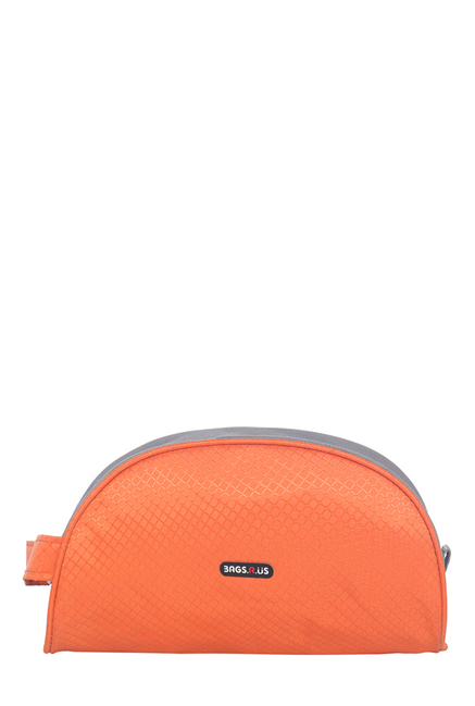 BagsRUs Orange Textured Polyester Toiletry Pouch