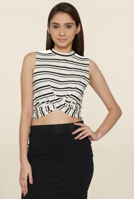 Globus White & Black Striped Crop Top