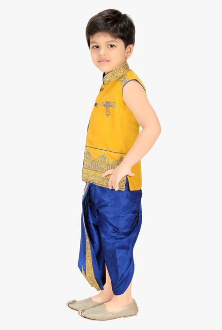 906b658137c Buy Kute Kids Yellow   Blue Embroidered Dhoti Kurta Set for Infant ...