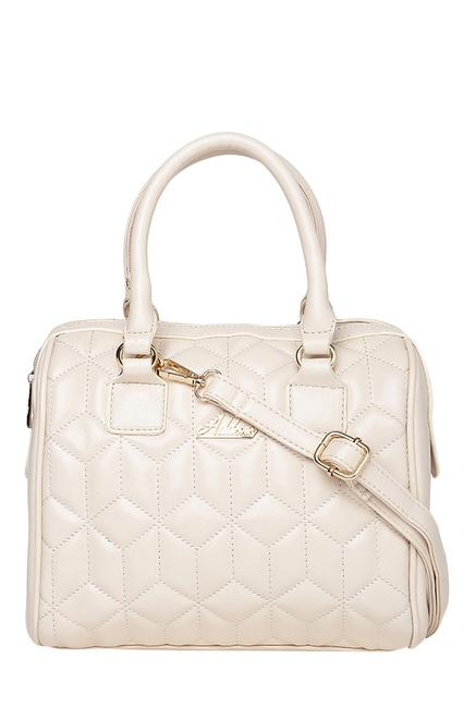 Addons Cream Quilted Duffle Handbag