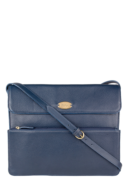 Hidesign Mars 01 Navy Solid Leather Laptop Messenger Bag