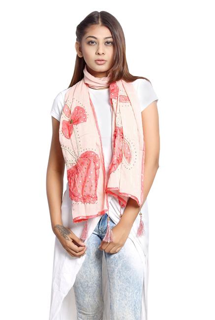 Grishti Coral Embellished Polyester Stole