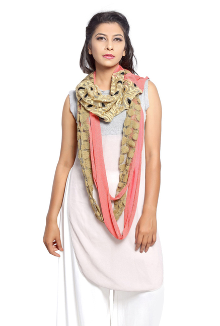 Grishti Pink & Golden Lace Polyester Stole