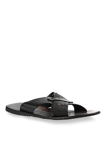 Salt 'n' Pepper Top Black Cross Strap Sandals