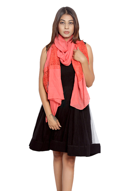 Grishti Red Lace Polyester Stole
